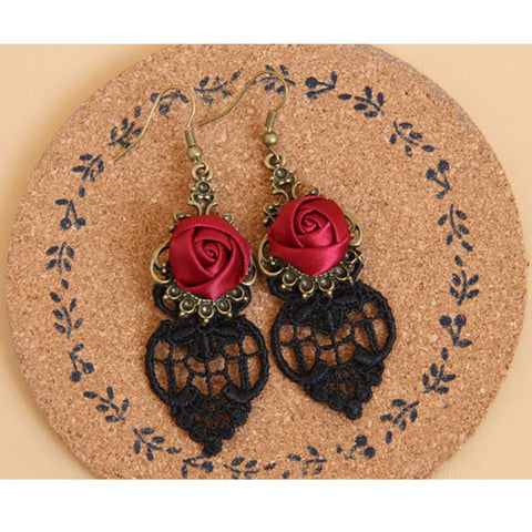 Black Lace and Rose Earrings