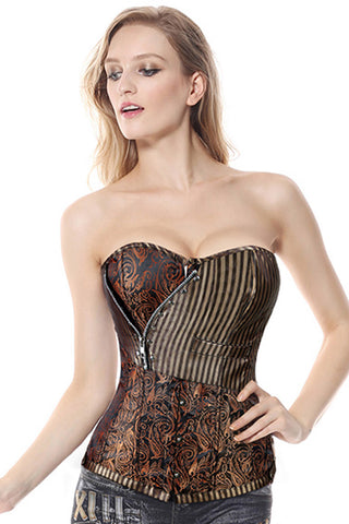 Brown Brocade Steampunk Overbust Corset
