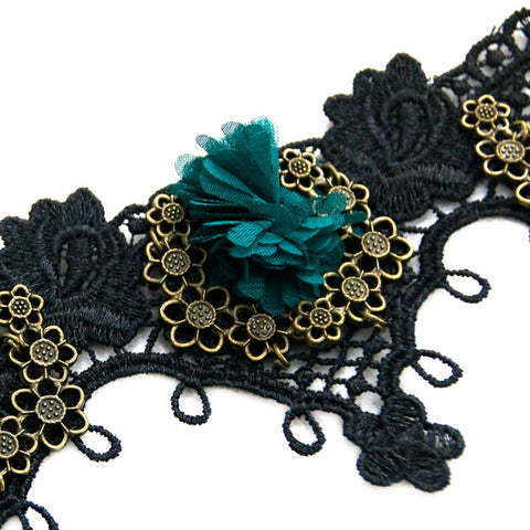 Atomic Black Lace And Green Flower Choker Necklace