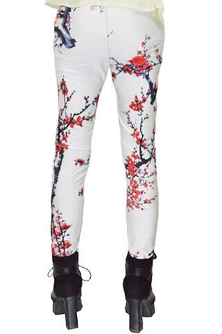 Plum Blossom Print Leggings
