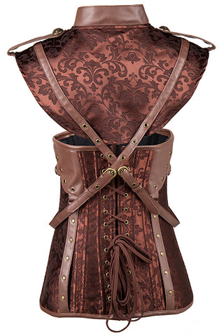 Brown Jacquard Underbust with Shrug