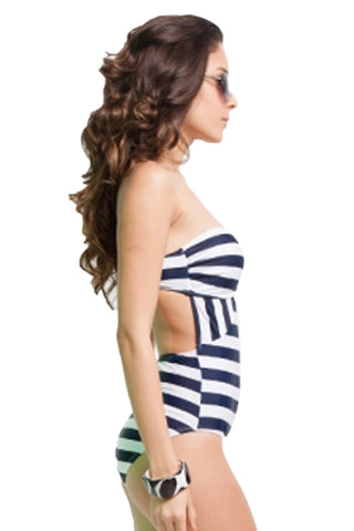 Dark Blue and White Strapless One Piece