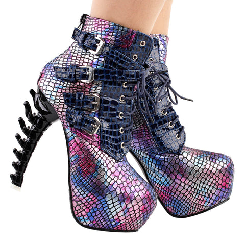 Show Story Punk Bone High Heel Ankle Boots