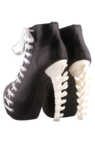 Black and White Laced High Heeled Ankle Boots