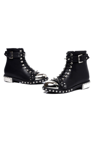 Black Studded Flat Ankle Boots