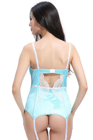 Light Blue Floral Lace Teddy