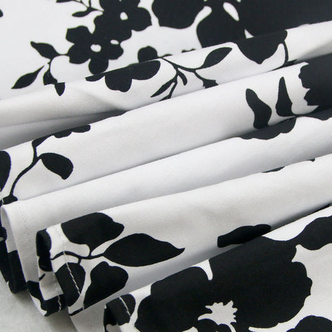 Black and White Floral Rockabilly Skirt