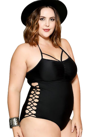Plus Size Crisscross One Piece Swimsuit