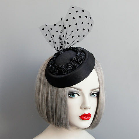 Black Victorian Gothic Flower Fascinator
