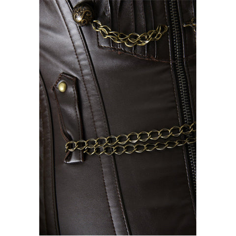 Brown Faux Leather Chains Steam Overbust Corset