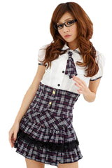 Black Plaid School Girl Costume