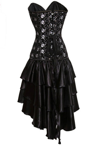 Black Skulls Steel Boned Corset Dress