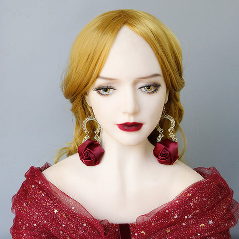 Victorian Red Rose Earrings