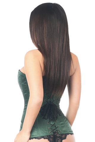 Dark Green Brocade Steel Boned Corset w/ Clasp Closure