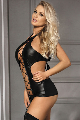 Black Lady Leather Lingerie