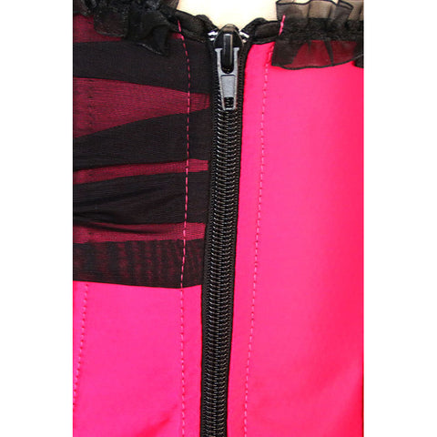 Hot Pink Rhinestone Brooch Overbust Corset