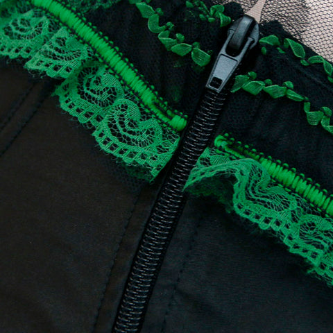 Atomic Green Apples Burlesque Overbust Corset