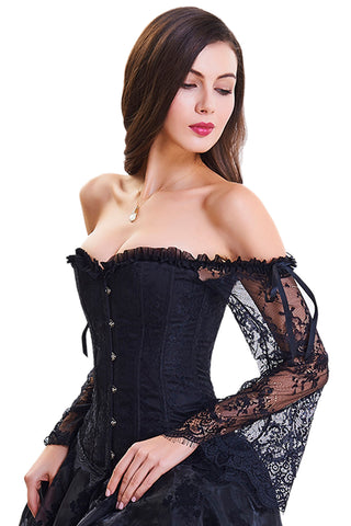 Black Overbust Corset with Floral Lace Sleeves