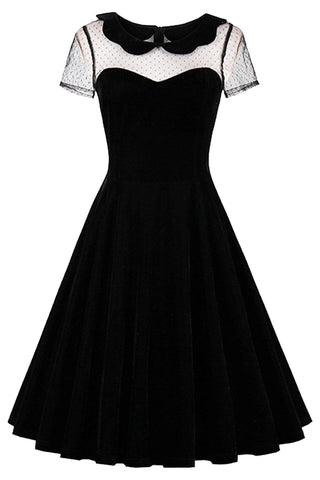 Black Dotted Sheer Gothic Dress