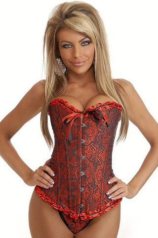 Black and Red Brocade Overbust Corset
