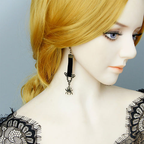 Gothic Black Spider Earrings