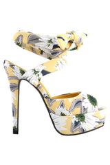 Yellow Retro Floral Strapped Sandals