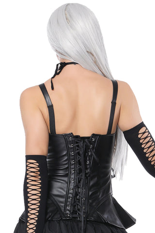 Atomic Black Faux Leather Overbust Corset