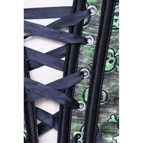 Atomic Green Distressed Gothic Skulls Corset