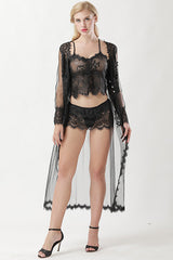 Black Lace Babydoll Robe Set