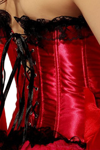 Red Satin Corset With Black Lace Trim