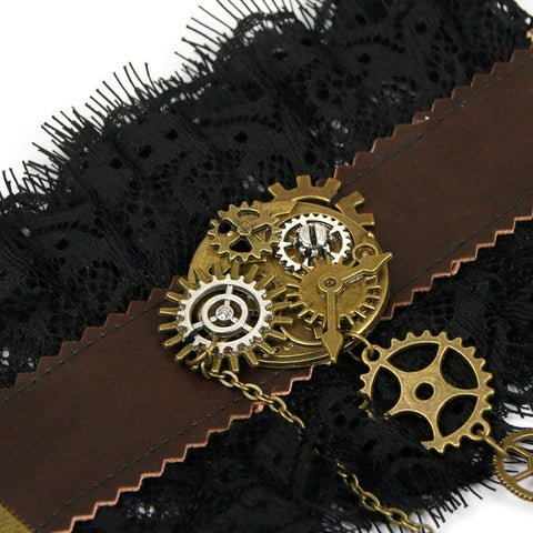 Atomic Victorian Gears Wristband with Ring