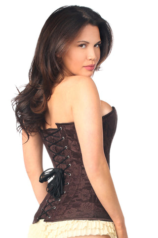 Brown Lace Overbust Corset w/ Zipper