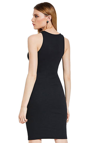 Black Keyhole Bodycon Dress