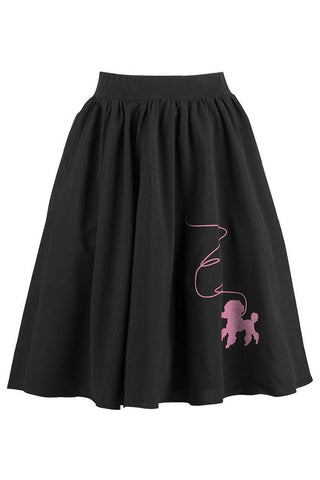Black Rockabilly Skirt with Pink Poodle