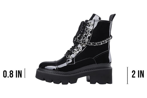 Chained Patent Leather Boots