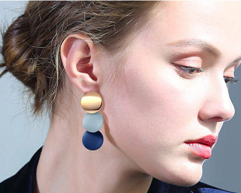 Tricolor Round Earrings