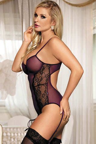 Purple Sheer Poetical Teddy Lingerie