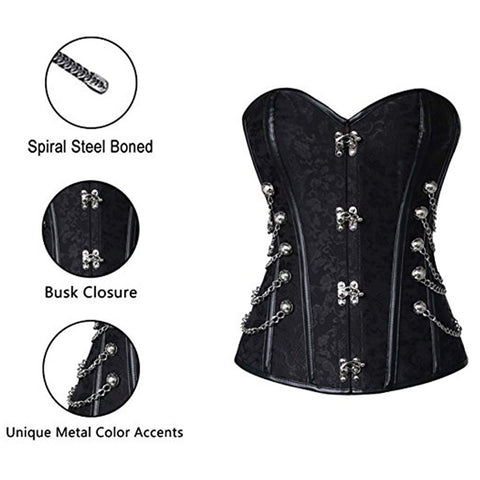 Black Brocade Steampunk Corset
