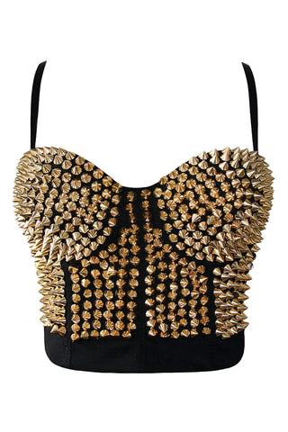 Spiked Metallic Clubwear Crop Top
