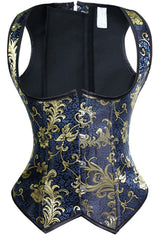 Vintage Blue and Gold Brocade Underbust Corset