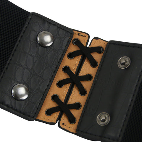 Black Leather Hollow Corset Belt
