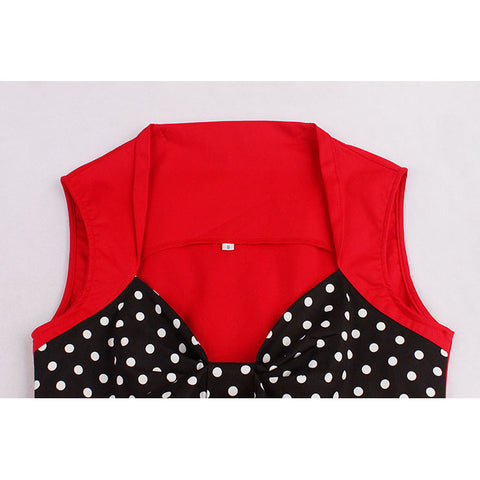 Red and Black Dotted Pleats Dress