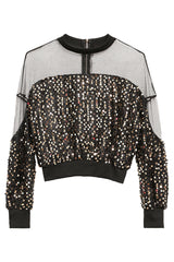 Atomic Glitter Sequined Long Sleeve Crop Top