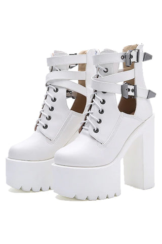 Hollow Out Buckle Boots