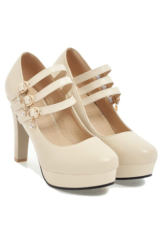 Triple Strapped Mary Jane Heels