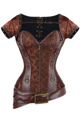 Brown Steampunk Brocade & Faux Leather Overbust Corset