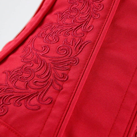 Red Steel Bone Embroidery Underbust Corset