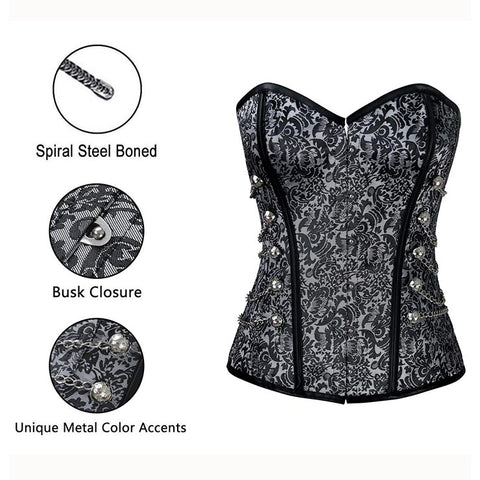 Black and Grey Steam Overbust Corset