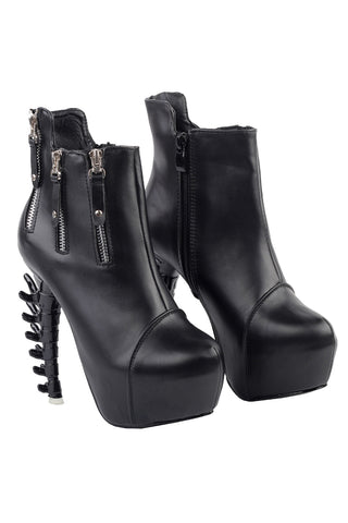 Black Zip Up Bone Ankle Boots