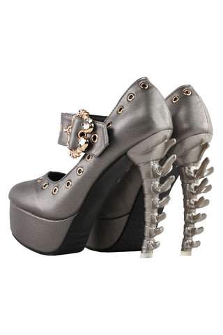 Buckled Skull Mary Jane Pumps